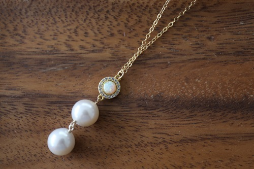 画像2: 14KGF opal  pearl necklace