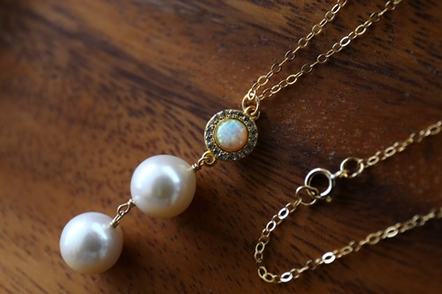 画像3: 14KGF opal  pearl necklace