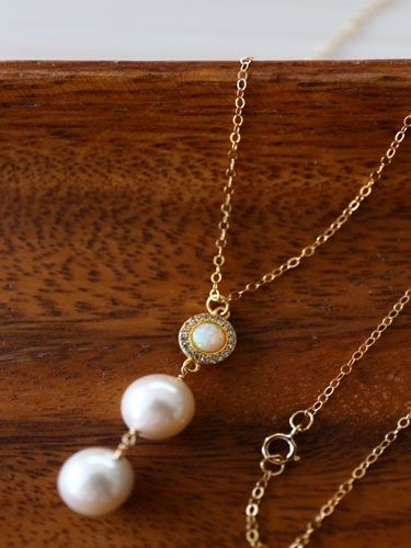 画像1: 14KGF opal  pearl necklace