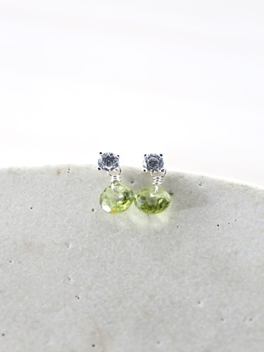 画像1: SILVER925  peridot  pierce