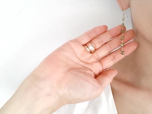 画像2: 14KGF peridot  long pierce