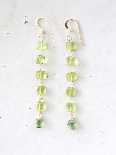 画像1: 14KGF peridot  long pierce
