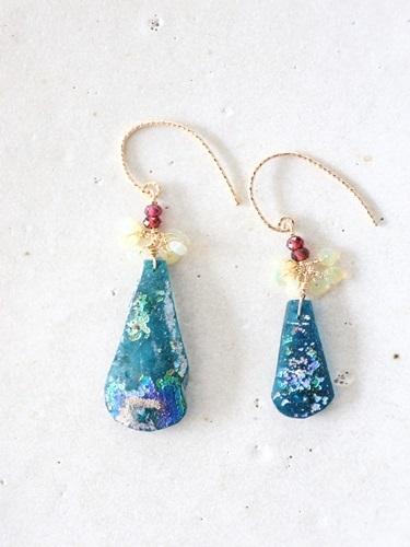 画像1: 14KGF roman glass  opal garnet pierce