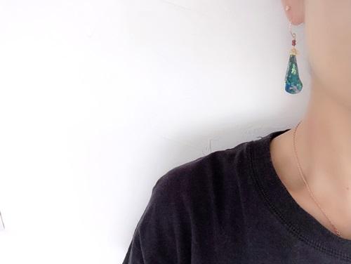 画像5: 14KGF roman glass  opal garnet pierce
