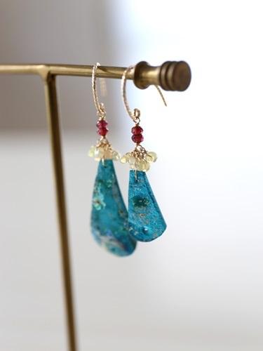 画像2: 14KGF roman glass  opal garnet pierce