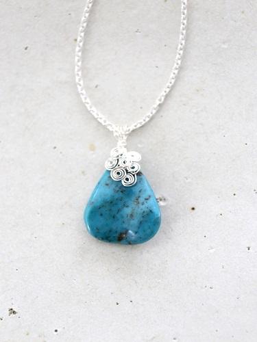 画像1: SILVER925  turquoise necklace