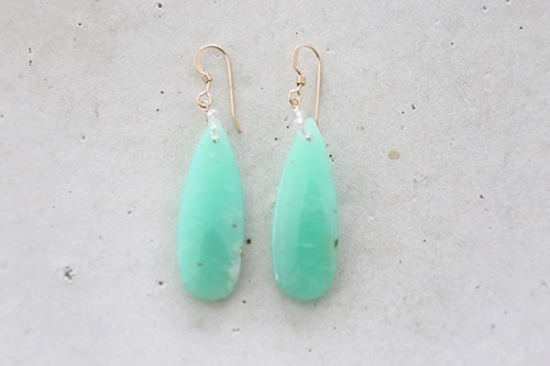 画像2: 14KGF chrysoprase teardrop pierce