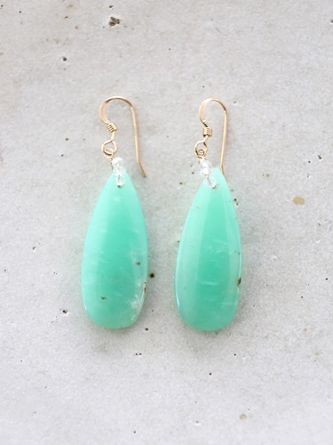 画像1: 14KGF chrysoprase teardrop pierce