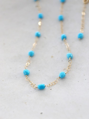 画像1: 14KGF turquoise necklace