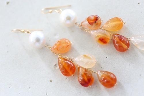 画像3: 14KGF carnelian pearl pierce