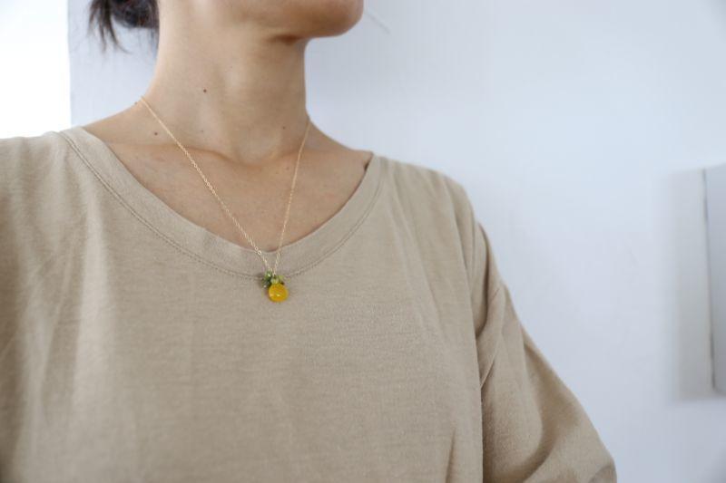 画像3: 14KGF honey jade serpentine necklace