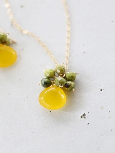画像1: 14KGF honey jade serpentine necklace