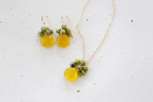 画像2: 14KGF honey jade serpentine necklace
