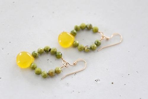画像2: 14KGF honey jade serpentine pierce