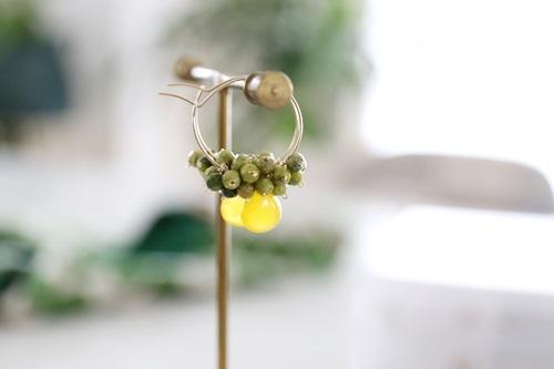 画像5: 14KGF honey jade serpentine pierce