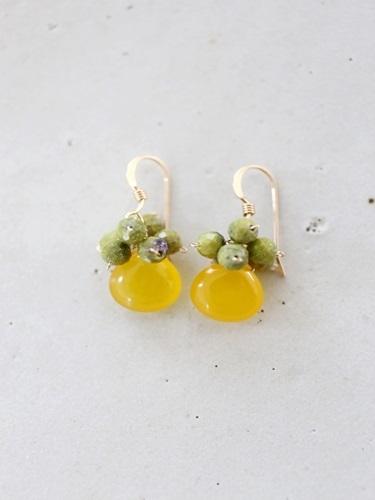 画像1: 14KGF honey jade serpentine pierce