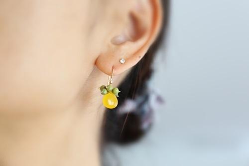画像3: 14KGF honey jade serpentine pierce