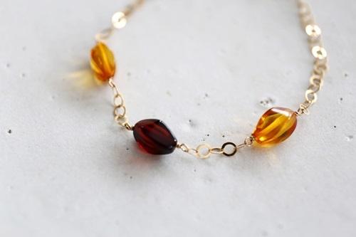 画像2: 14KGF amber bracelet