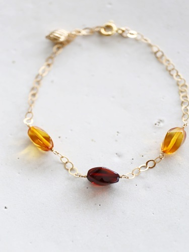 画像1: 14KGF amber bracelet
