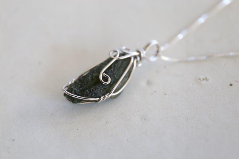画像2: SILVER925 moldavite necklace