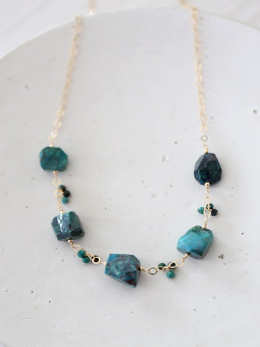 画像1: 14KGF chrysocolla necklace
