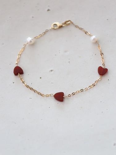 画像1: 14KGF redheart pearl bracelet