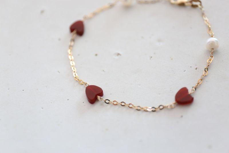 画像3: 14KGF redheart pearl bracelet