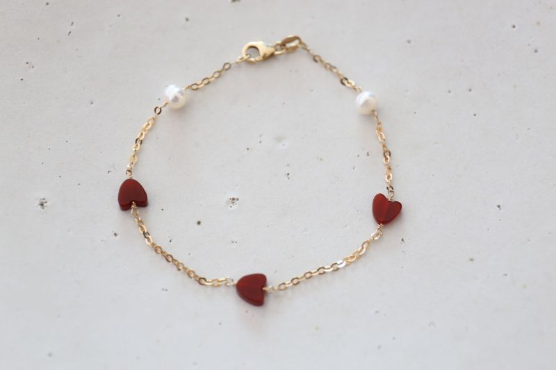画像2: 14KGF redheart pearl bracelet