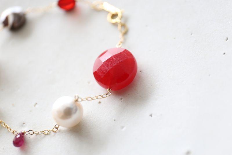 画像2: 14KGF ruby amber pearl mix bracelet