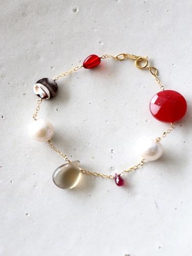 画像1: 14KGF ruby amber pearl mix bracelet