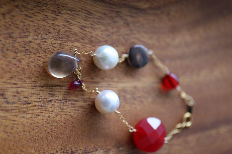 画像5: 14KGF ruby amber pearl mix bracelet