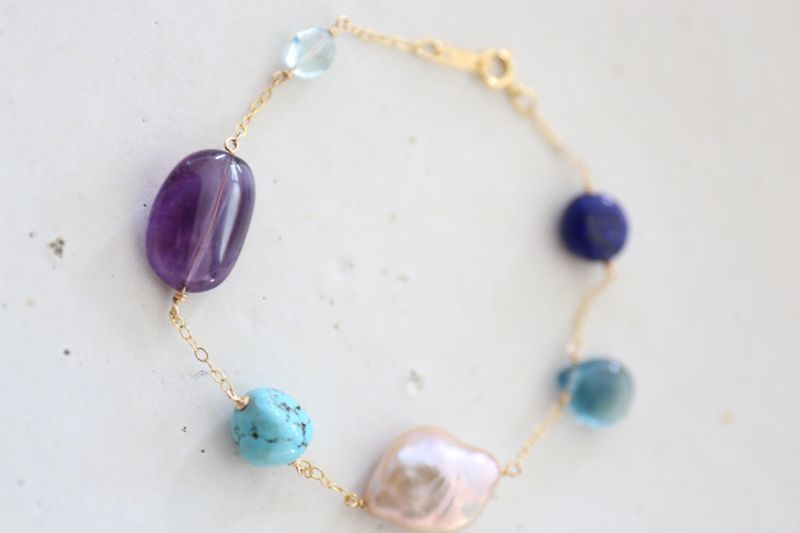 画像3: 14KGF lapis lazuli turquoise multi bracelet