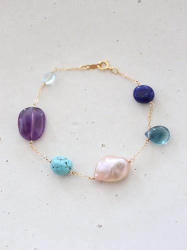 画像1: 14KGF lapis lazuli turquoise multi bracelet