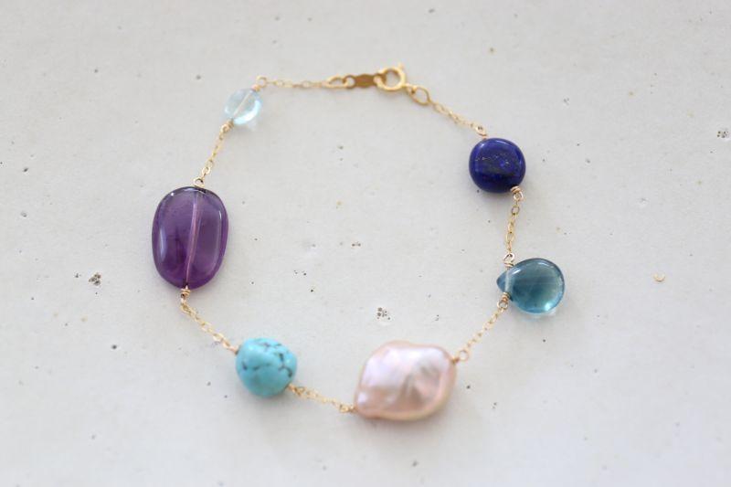 画像2: 14KGF lapis lazuli turquoise multi bracelet