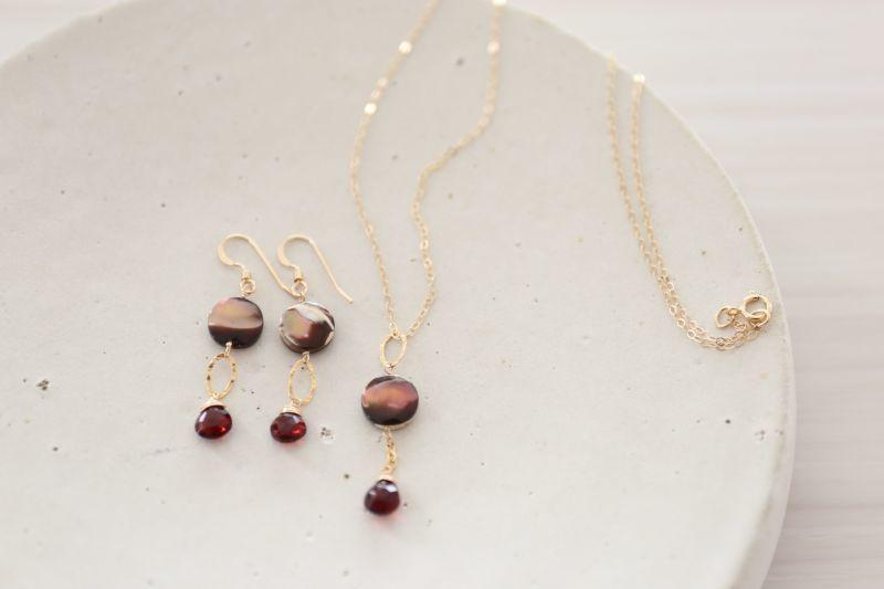 画像4: 14KGF garnet  shell necklace