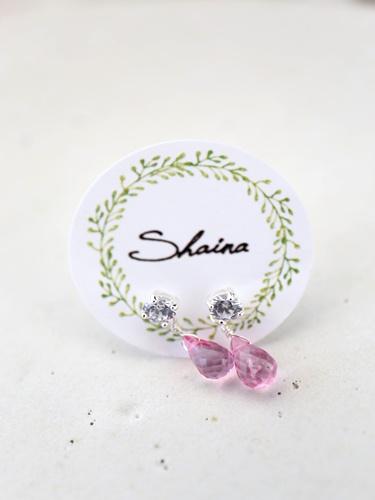画像1: SILVER925 pinktopaz pierce