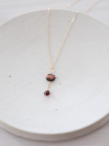 画像1: 14KGF garnet  shell necklace