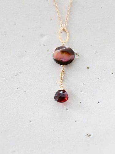 画像2: 14KGF garnet  shell necklace