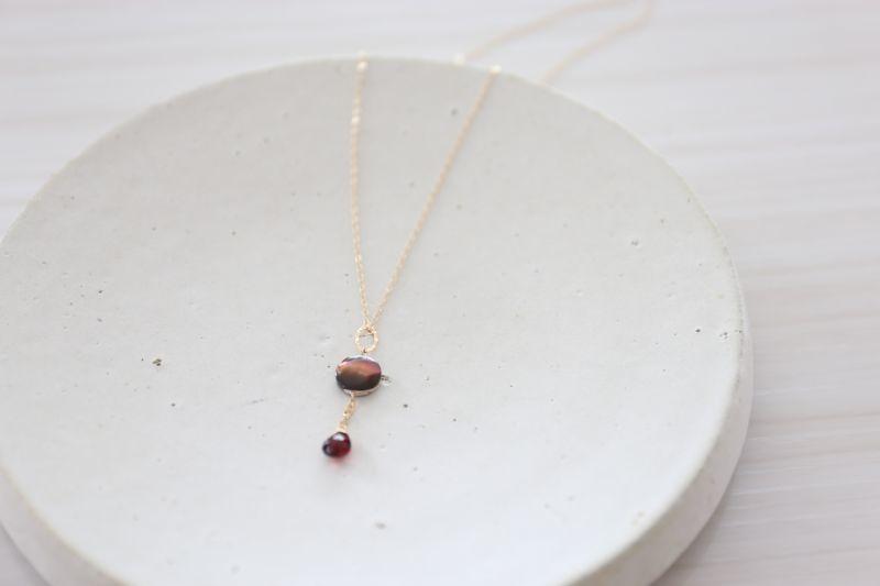 画像3: 14KGF garnet  shell necklace