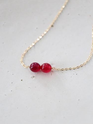 画像1: 14KGF red&purple  necklace