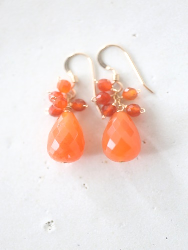 画像1: 14KGF  carnelian pierce
