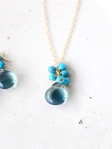 画像1: 14KGF turquoise fluorite necklace