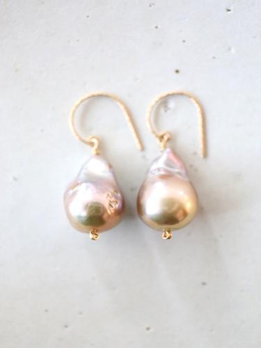 画像1: 14KGF baroque pearl pierce