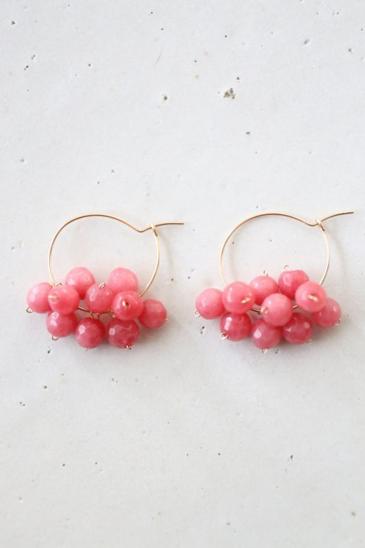 画像1: 14KGF pink jade pierce
