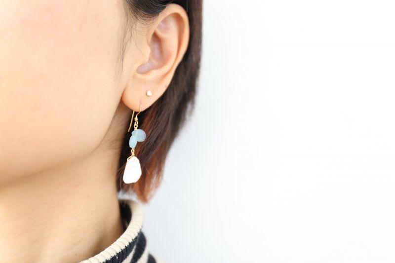 画像3: 14KGF aquamarine pearl pierce