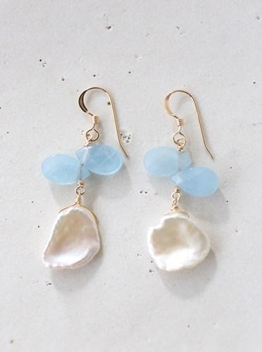 画像1: 14KGF aquamarine pearl pierce