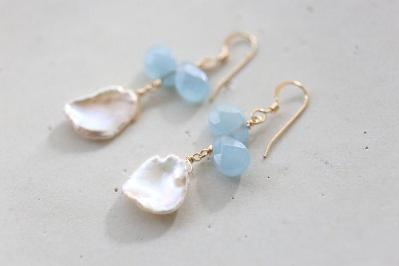 画像2: 14KGF aquamarine pearl pierce