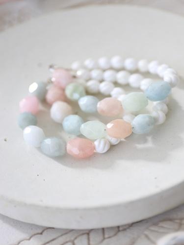 画像1: SILVER925 aquamarine bracelet