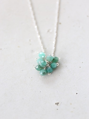 画像1: SILVER925 emerald necklace