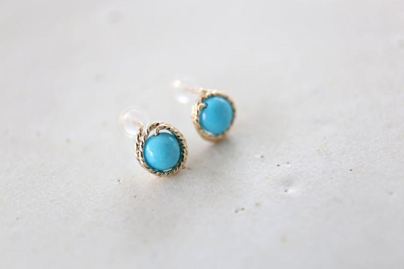 画像3: 14KGF turquoise pierce